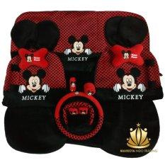 Sarung Jok 24in1 / Car Set / Bantal Mobil Mickey Mouse Merah/Hitam Avanza, Xenia, Innova, Rush, Terios, March, dll (Head-rest Tidak Menyatu) (3 Baris)