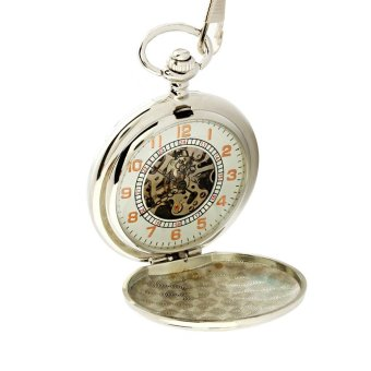 Schuan Men's retro semi-automatic mechanical pocket watch (White) - intl