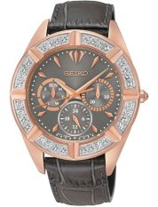 Seiko Ladies Lord Collection Swarovski - Jam Tangan Wanita - Abu Tua - Strap Leather - SKY684P1