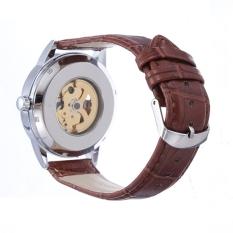 SEWOR White Automatic Mechanical Skeleton Leather Men Wrist Watch (Intl)