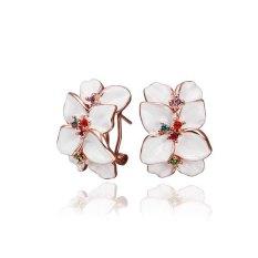 SH Pair Of White Flower Clip Earrings - Intl