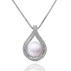 Shell Shape Luxury Pearl Ornate Inlay Platinum Plated Pendant
