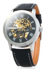 SHENHUA 9269 Men Hollow Automatic Mechanical Watch with Leather Band Roman Scale (Black Silver Black) (Intl)