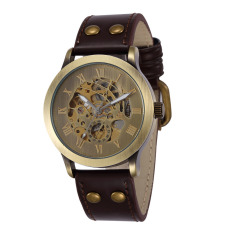 SHENHUA Retro Vintage Bronzy Watchcase Skeleton Self-winding Mechanical Watch Soft PU Leather Watchband Analog Steampunk Antique Style Wristwatch (Intl)