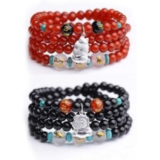 shipping natural red agate beads bracelet triple mascot zodiaccircle 925 silver jewelry bracelets men and women - is a pig (redagate) - intl