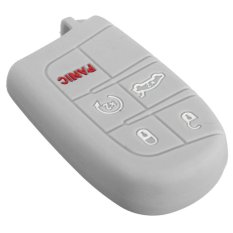Silicone Case Cover Shell For Jeep Chrysler Dodge Fiat 5 Button Remote Smart Key Grey