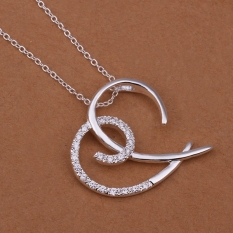 Silver Plated Pendant Necklaces For Women Silver Plated Chain Jewelry N363 Romantic Bridal Nickle Free - Intl