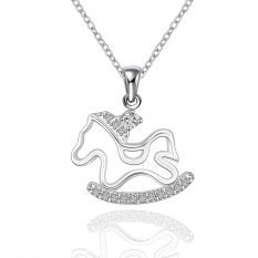Silver Plated Pendant Necklaces For Women Silver Plated Chain Jewelry N615 Bridal Anniversary Nickle Free - Intl