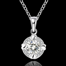 Silver Plated Pendant Necklaces For Women Silver Plated Chain Jewelry N665-A Engagement Collar Nickle Free - Intl