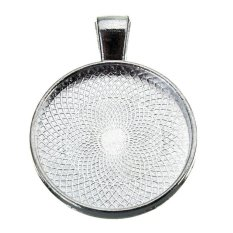 Silver Round Plating Necklace Pendant Photo Frame Base Tray Pallet 30mm