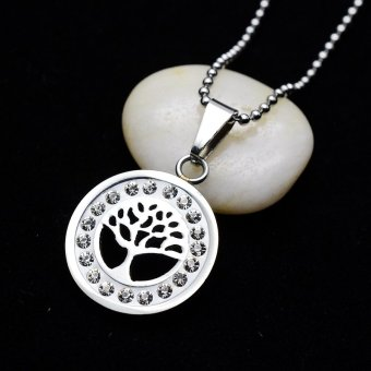 Silver Tone Stainless Steel Tree Of Life Crystals Charm Pendant Necklace With SS Chain 60CM