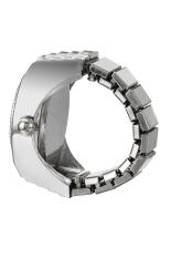 Simple Fashion Lady Girl Steel Round Elastic Quartz Finger Ring Watch Women (Intl)