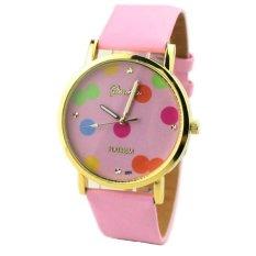 Simple Pink Polka Dot Belt Fashion Watches Women Popular Quartz Watch - INTL