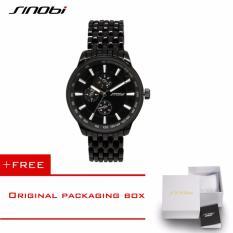 SINOBI 2016 Watch Men Quartz-Watch Luxury Brand Full Steel Men's Watch Waterproof Clock Men Relogio Masculino Fashion Erkek Saat 9268(black) [Buy 1 Get 1 Freebie]