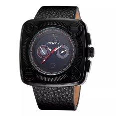SINOBI Fashion Men Brand Casual Quartz Big Square Dial PU Leather Strap Watches Red Hands (Intl)
