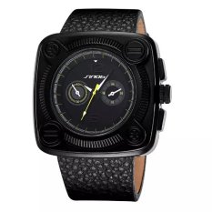 SINOBI Fashion Men Brand Casual Quartz Big Square Dial PU Leather Strap Watches Yellow Hands (Intl)