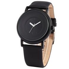 Sinobi S9372 Simple Casual Leather Strap Analog Quartz Wrist Watch Black