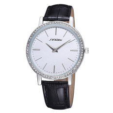 SINOBI Ultrathin Big Dial Genuine Leather Strap Waterproof Crystal Women Dress Quartz Watch (White) (Intl)