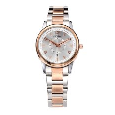 SINOBI Women's Fashion Stainless Steel Wristwatches Rose Gold Watchbands Auto Date Female's Silver Quartz Watches- Intl
