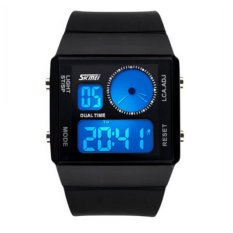 SKMEI 0841 Dual Digital Movement Colorful LED Analog Unisex Sport Wrist Watch (Black) (Intl)