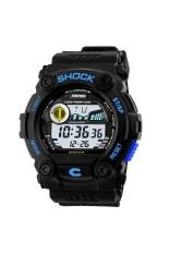 SKMEI 0907 Multi-functional Waterproof Unisex Boys Girls LED Digital Sports Wrist Watch with Date / Week / Alarm / Stopwatch / Backlight / Rubber Band Blue