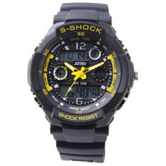 SKMEI 0931 Waterproof Unisex LED Digital Analog Dual Time Display Sports Wrist Watch with Date / Week / Alarm / Stopwatch / Backlight / Rubber Band (Yellow)
