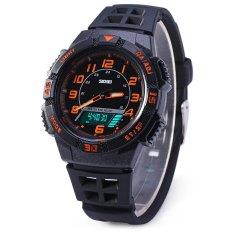 Skmei 1065 LED Digital Quartz Military Watch Water Resistant Dual Time Alarm Day Date Wristwatch For Sports (Orange) (Intl)