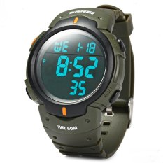 Skmei 1068 Military Army LED Watch Water Resistant Stopwatch Alarm Day Date Function (Army Green) (Intl)