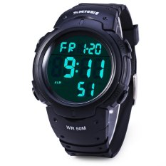 Skmei 1068 Military Army LED Watch Water Resistant Stopwatch Alarm Day Date Function (Black) (Intl)