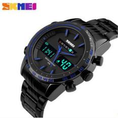 SKMEI 2016 New Luxury Men Sports Watches Men's Digital Black Military WristWatch Full Steel Relogio Masculino Male Clock Men (Blue)