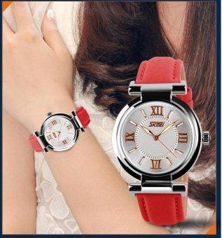 SKMEI 9075 Women's Watch Quartz Watch Fahsion Women's Leather Watch - Red - intl