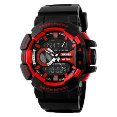 SKMEI Brand Fashion Hiking Sports Electronic Watch For Schoolboy PU Leather Watch 50M Waterproof Quartz Digital Movement Dual Time Display Wristwatch Men Watches