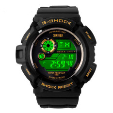 SKMEI Brand Men Sports Watches 50m Waterproof LED Digital Military Watch Gold (Intl)