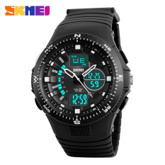 SKMEI Brand Men Sports Watches Dual Display Watches Analog Digital LED Quartz Casual Waterproof Wristwatches (Black)