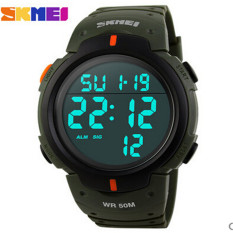 SKMEI Brand New 2016 Sports Watches Men LED Electronic Digital Watch 50M Swim Outdoor Casual Military Army Wristwatch (Army Green)