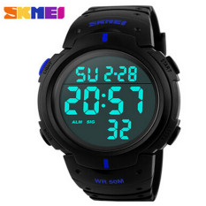 SKMEI Brand New 2016 Sports Watches Men LED Electronic Digital Watch 50M Swim Outdoor Casual Military Army Wristwatch (Blue)