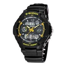 SKMEI Brand Outdoor Waterproof Multifunctional Climbing Double Display Electronic Watch Hot Diving Men's Watch-Yellow (Intl)