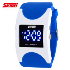 SKMEI Brand Women LED Digital Watch Sports Watches Fashion Arced Dial 30m Waterproof Electronic Student Dress Wristwatches (Blue)
