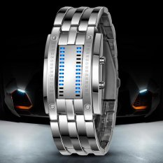 SKMEI Digital Lovers Fashion LED Stainless Wristwatches 2016 New L Silver - Intl