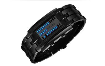 SKMEI Digital Lovers Waterproof Fashion LED Stainless Wristwatches 2016 New M Black