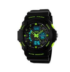 SKMEI Digital Watches 2 Time Zones Quartz Electronic LED Watch Green (Intl)