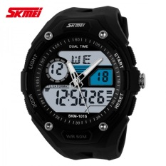 Skmei Dual Time Zone + Box Jam Skmei Waterproof Anti Air Digital Led 5Atm - Black Silver
