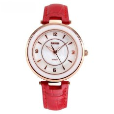 SKMEI Fashion Casual Ladies Leather Strap Watch Water Resistant 30m - 1059CL - Merah
