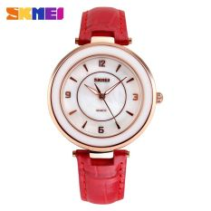 SKMEI Fashion Casual Ladies Leather Strap Watch Water Resistant 30m - 1059CL - Red