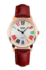 SKMEI Fashion Casual Ladies Leather Strap Watch Water Resistant 30m - 1084CL - Merah
