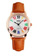 SKMEI Fashion Casual Ladies Leather Strap Watch Water Resistant 30m - 1084CL - Oranye