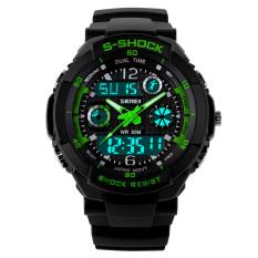 SKMEI Female Sport LED Waterproof Rubber Strap Wrist Watch - Green 0931