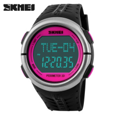 SKMEI Fitness Digital Watch Men Women Sports Watches Pedometer Heart Rate Monitor Calories Counter Outdoor Casual LED Wristwatch (RoseRed)