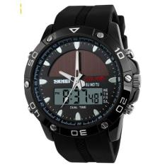 SKMEI Jam Tangan Sport Pria Solar Power Sport LED Watch Water Resistant 50m AD1064E - Hitam (Black)