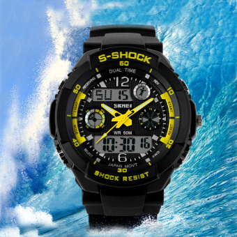 SKMEI Luxury Brand Men Military Sports Watches Digital LED Quartz Wristwatches Outdoor Casual Watch (Yellow)